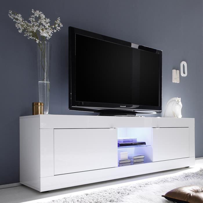 Meuble Tv 180 Cm Blanc Laque Design Focia 2 Avec Eclairage