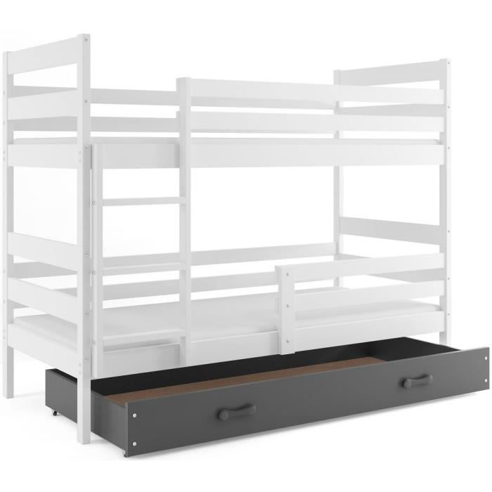 lit superpos eryk 160x80 blanc gris livr avec sommiers tiroir et matelas en mousse de 7cm. Black Bedroom Furniture Sets. Home Design Ideas