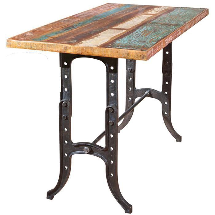 Table bar en bois recycl multicolore dim 180 x 90 x 75 - Table haute pliante rectangulaire ...