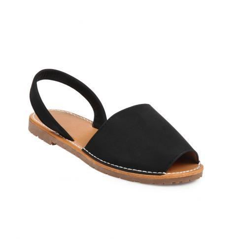 Sandales plates aspect cuir noir