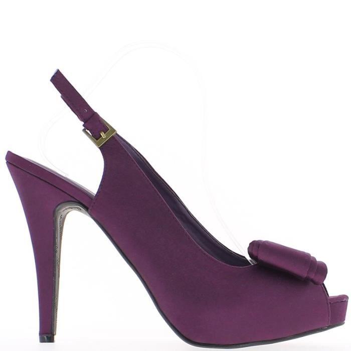 Sandales violets satinées grande taille à talon de 14cm et plateforme avec noeud