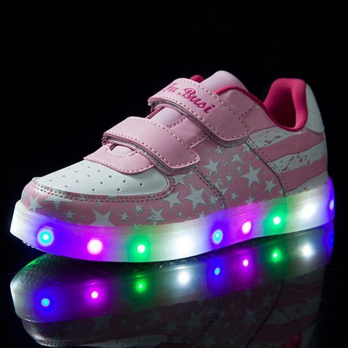 Étoile Motif Chaussures 7 Changement de couleur d'éclairage LED clignotant Enfants Fille Sneakers avec USB pour Prom Party