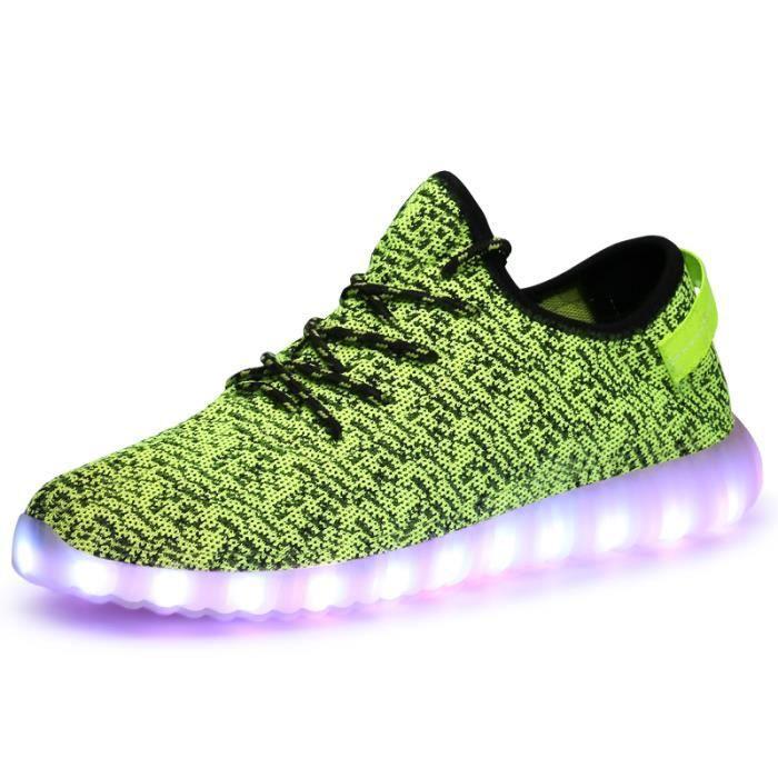 HommeFemme 7 Couleur USB Charge LED Lumière Lumineux Clignotants Chaussures de Sports Basketsvert yZagP5jz