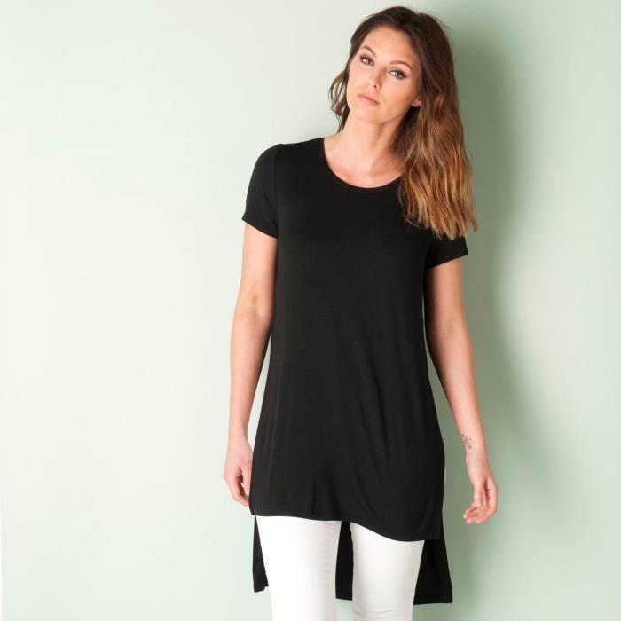 49e24583c13 Haut long fendu Only pour femme en noir Noir - Achat   Vente t-shirt ...