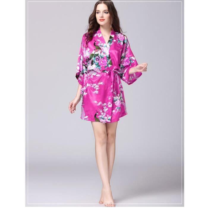 Chemise de nuit Femmes V-cou manches 3/4 Floral Satin Kimono