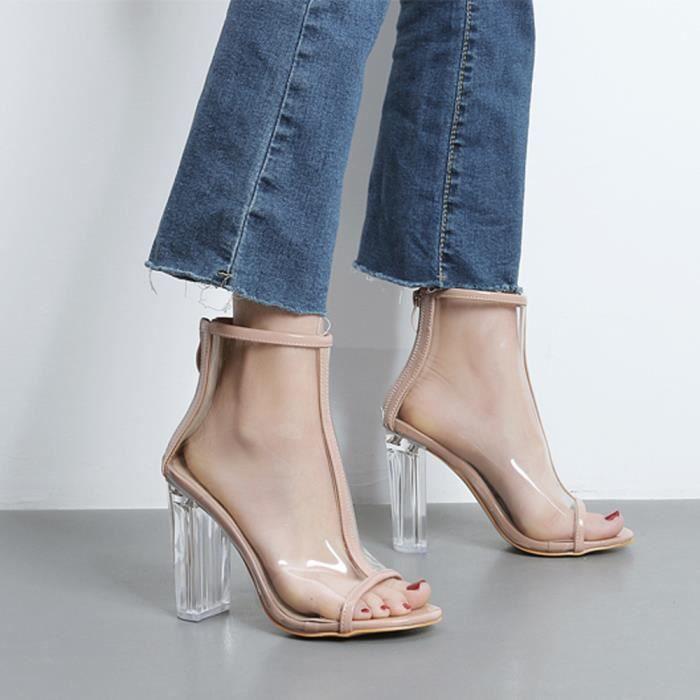En Courtes Sandales Toe Sexy Plastique modehall282 Femmes Transparent Peep Bottes New Zipper De qwtgApXn8