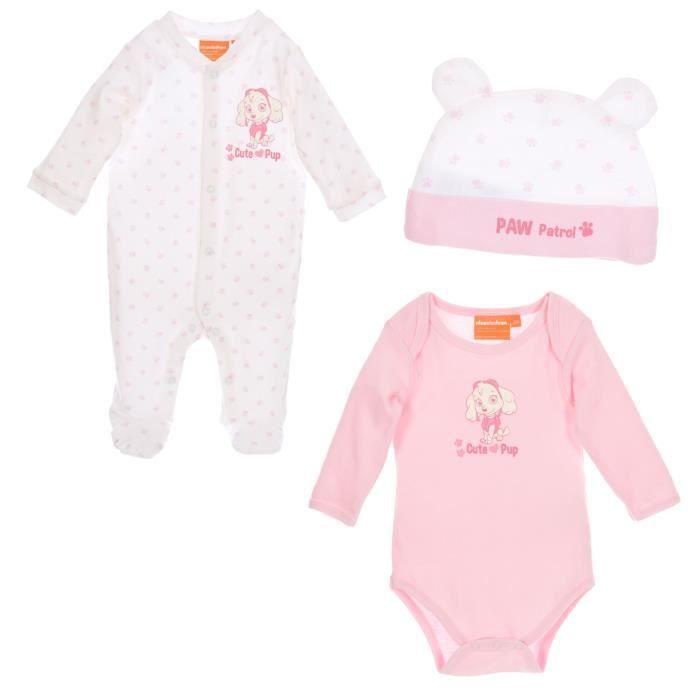 eb67893c284d4 Set Body pyjama bavoir bonnet bébé Fille PAT  PATROUILLE - 100% coton Rose  et Blanc
