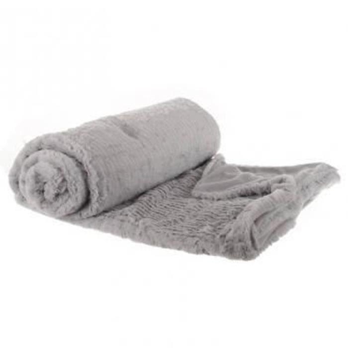 grand plaid imitation fourrure gris 180 x l230 cm achat vente couverture plaid cdiscount. Black Bedroom Furniture Sets. Home Design Ideas