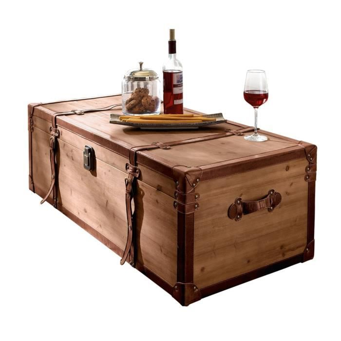Pureday table basse coffre en bois brun avec beaucoup - Table de salon coffre ...