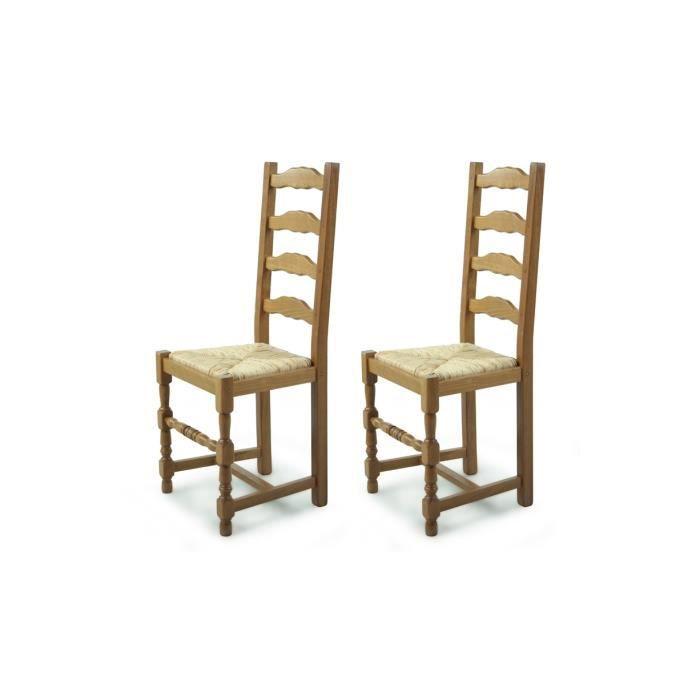Chaise en bois lot de 2 paille positano achat vente for Chaise en bois avec accoudoir