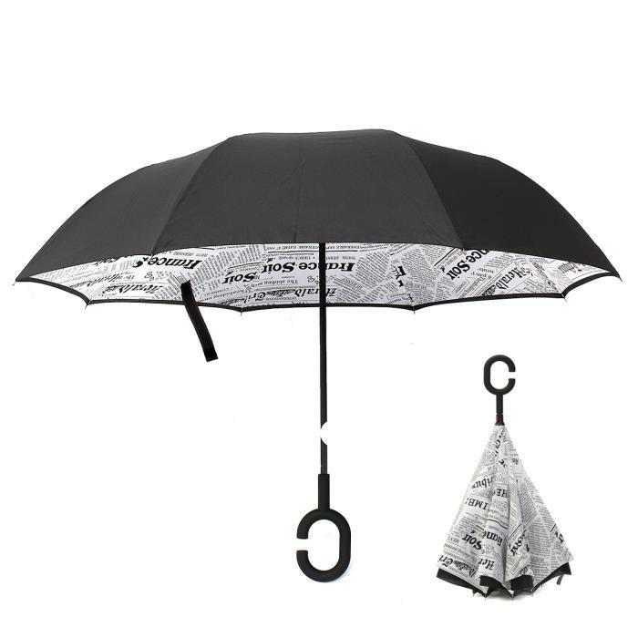 Inversé Pliant Main Libre Anti C Noël Dia Vent Parapluie Automatique Soleil Parasol 98cm Journal Uv Cadeau Imprimé Blanc wEp4tq