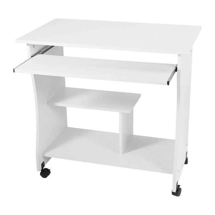 Bureau Dordinateur Simple Bureau Avec Roues Blanc Achat Vente