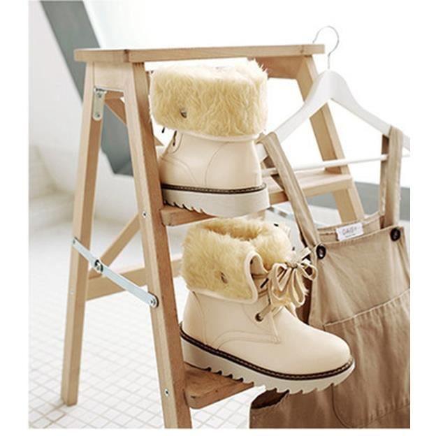 Femme Hiver Chaud Cuir Bottes de Neige Décontractée Chaussures à Lacets Talon Plat Toison Doublé Martin Bottes 34-43
