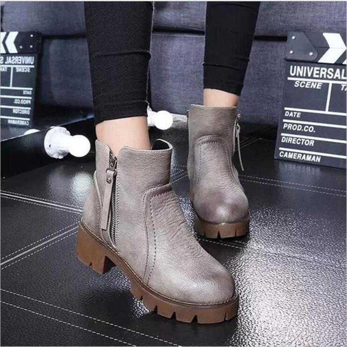 Bottines Femmes Automne Hiver talon épais en cuir bottes JYG-XZ019Noir39