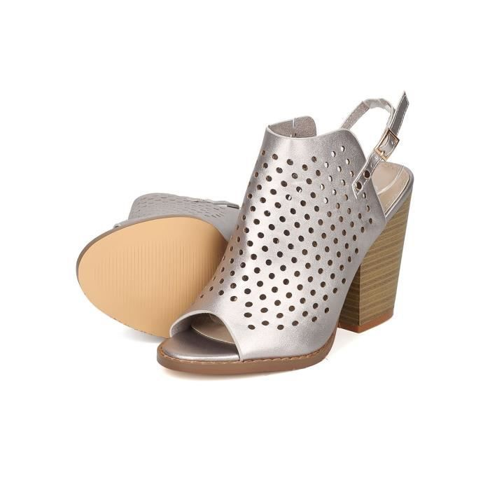 Perforated Chunky Heel - Dressy, Trendy, Casual - Slingback Heel Mule - Gf56 By CVRO6 Taille-41