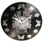 Horloge pendule murale TETE DE MORT FLOWERS disque vinyle 33 tours ...