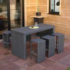 Ensemble table bar résine tressée + 6 tabourets - Achat / Vente ...