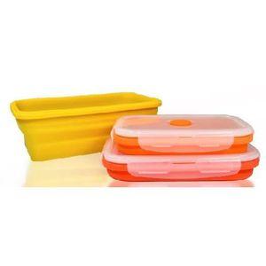 JOCCA 4510 Lot de 3 récipients - Silicone - Pliables - Orange et jaune