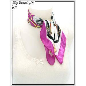 Accessoire Mode   Echarpe - Foulard - Cheche   Echarpe - Foulard - Cheche - Carré  satin - Fond blanc - Ceintures grises et noires - 2349b3f4d00