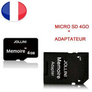 CARTE MÉMOIRE Carte mémoire Micro SD 4 Go classe 10 + adaptateur