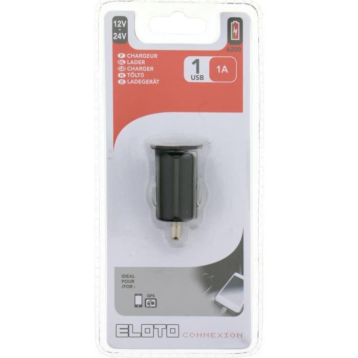 ELOTO CONNEXION Chargeur Allume cigare 12V/24V Usb 1A