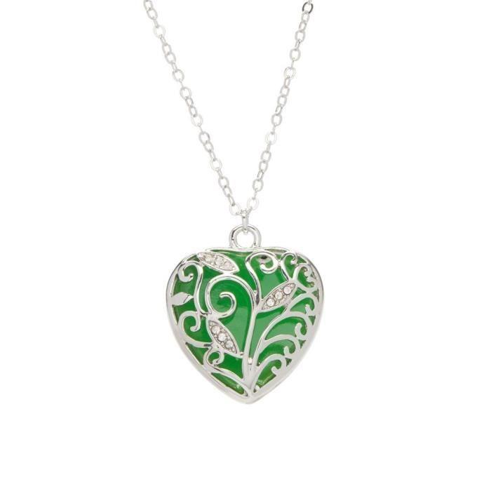 Collier Femme Coeur Vert rougeoyant vert rougeoyant coeur 925 Glow Pendant IC6IA