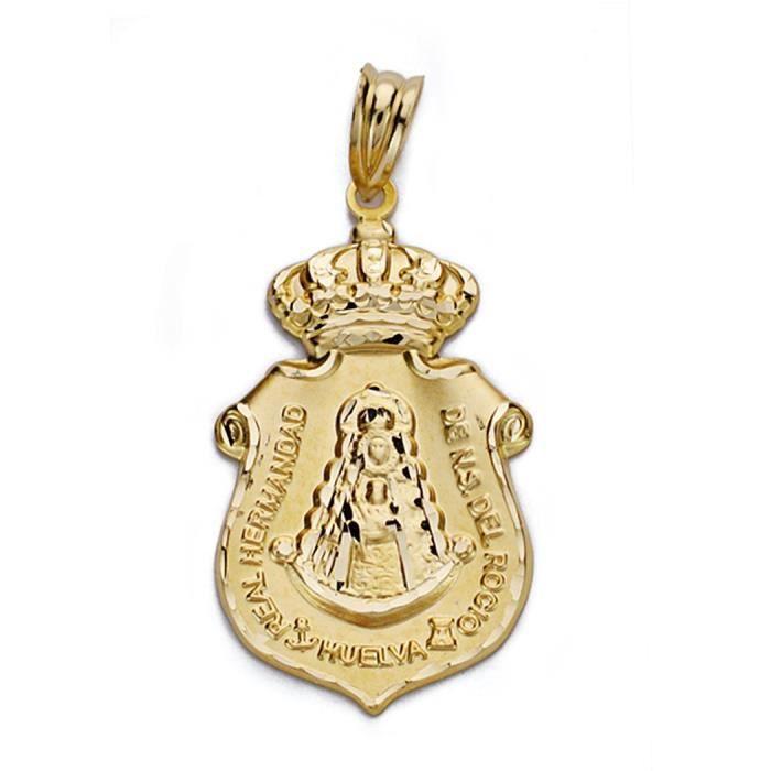 Pendentif 18k médaille dor Virgen del Rocio 30mm. [AA0004GR] -