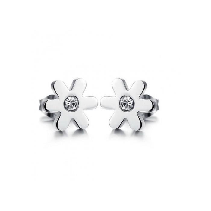 Boucles d oreilles en Acier Inoxydable Fleur avec Zirconites