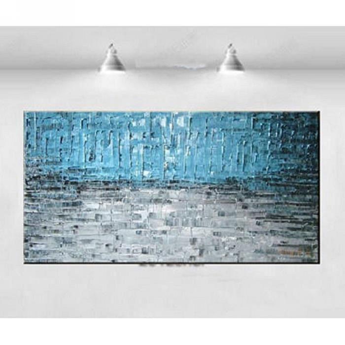 tableau peinture huile toile art paysage bleu et gris d co salon artistique sans ch ssis sans. Black Bedroom Furniture Sets. Home Design Ideas