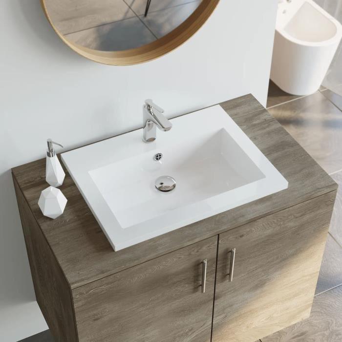 Lavabo salle de bain a poser Vasque à Poser de Salle de Bain en granit  Rectangulaire blanc 600 x 450 x 120 mm