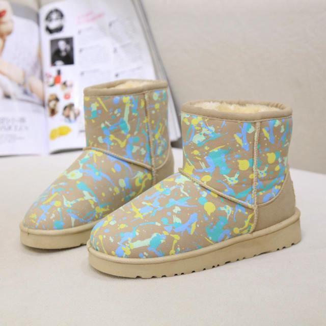 Bottes de neige femmes fashion chaud chaussures colorées beige