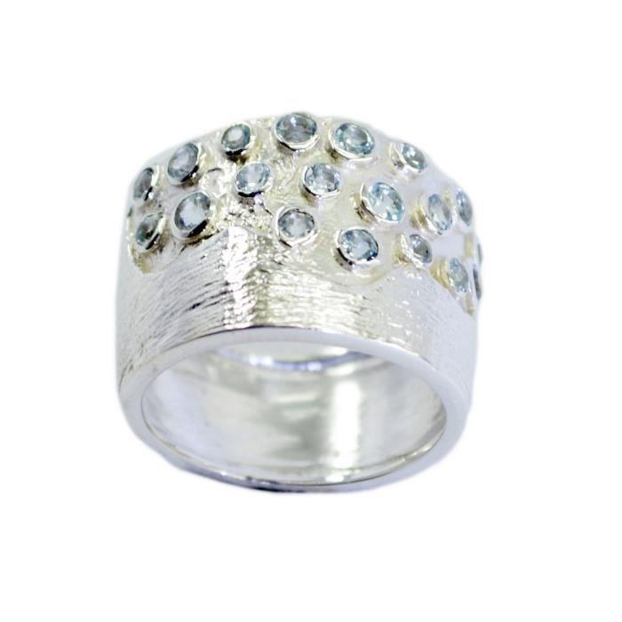 anneau bleu topaze - anneau bleu - bague en argent - bague en argent bleu