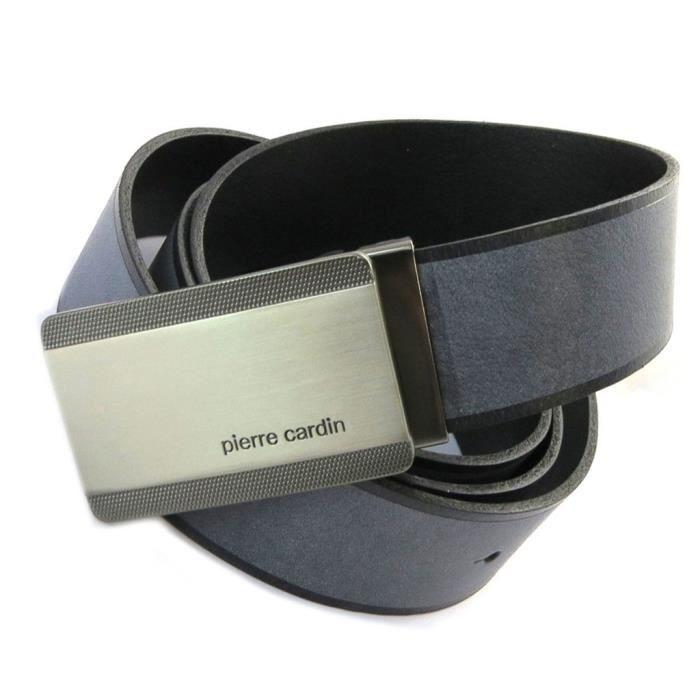 0426df50b6 Ceinture Cuir 'Pierre Cardin' gris noir vintage - 35 mm... [N6555]