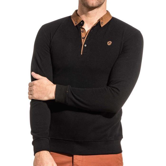 791f25f6f Pull homme noir à col polo Noir Noir - Achat / Vente polo - Cdiscount