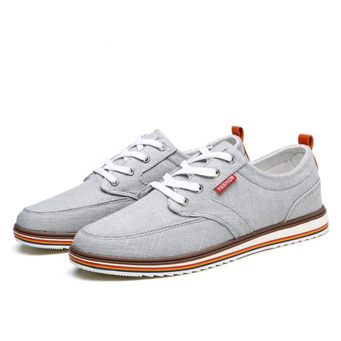 Homme Chaussures Poids Léger Confortable Antidérapant Classique Moccasin Marque De Luxe été rétro Toile Grande Taille 38-48