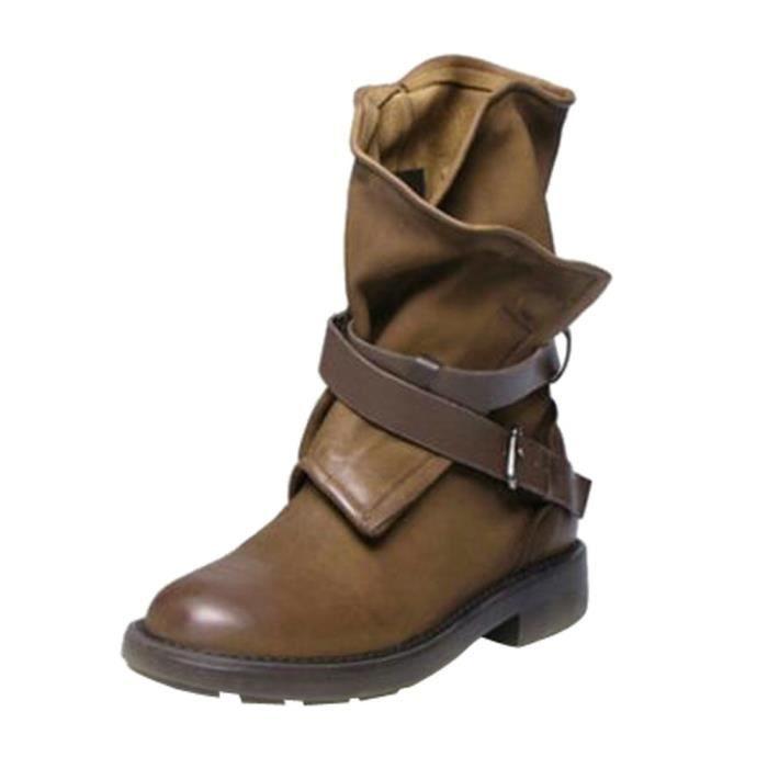 marron Militaire Artificial Moyen Bottes Chaussures Patchwork Boucle Cuir  Mode En Femmes E6q7nXv ad91c7c3565d