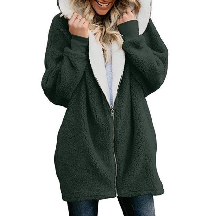 14fdb2993f26 Manteau Femme Parka Hiver Fourrure Sweat capuche zippé hoodies ...