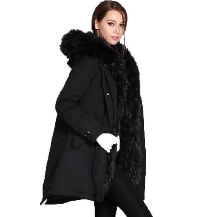 Longue Coton Femme Nouveau Pour Luxe Fourrure D'hiver Col À Épais Chaud Section De Capuche Doudoune Marque 1J35uKlcTF
