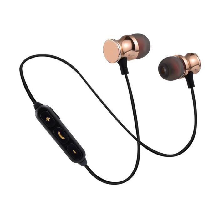 Oem - Ecouteurs Bluetooth Metal Pour Samsung Galaxy J6 Smartphone Sans Fil Telecommande Son Main Libre Int Couleur:or