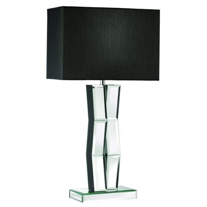 Lampe De Table Pied Miroir Et Abat Jour Tissu Noir Achat Vente