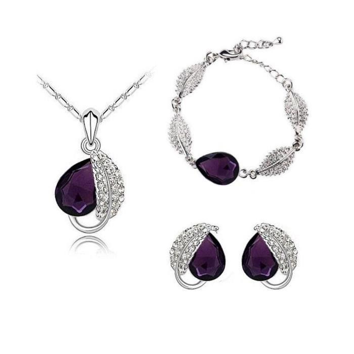 Parure feuille cristal SWAROVSKI ELEMENTS goutte avec bracelet plaqué or blanc couleur Violet