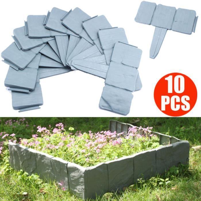 Clôture de jardin en plastique 10pcs Clôture décoratif pelouse bord ...