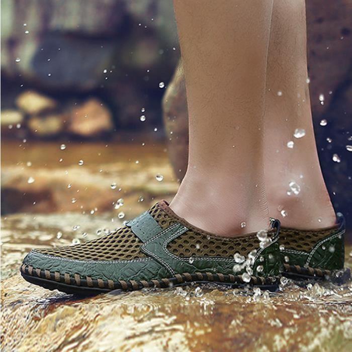 Chaussure Homme Été Qualité Supérieure Respirant Ultra Léger Slip On Appartements Antidérapant Confortable Vert 44
