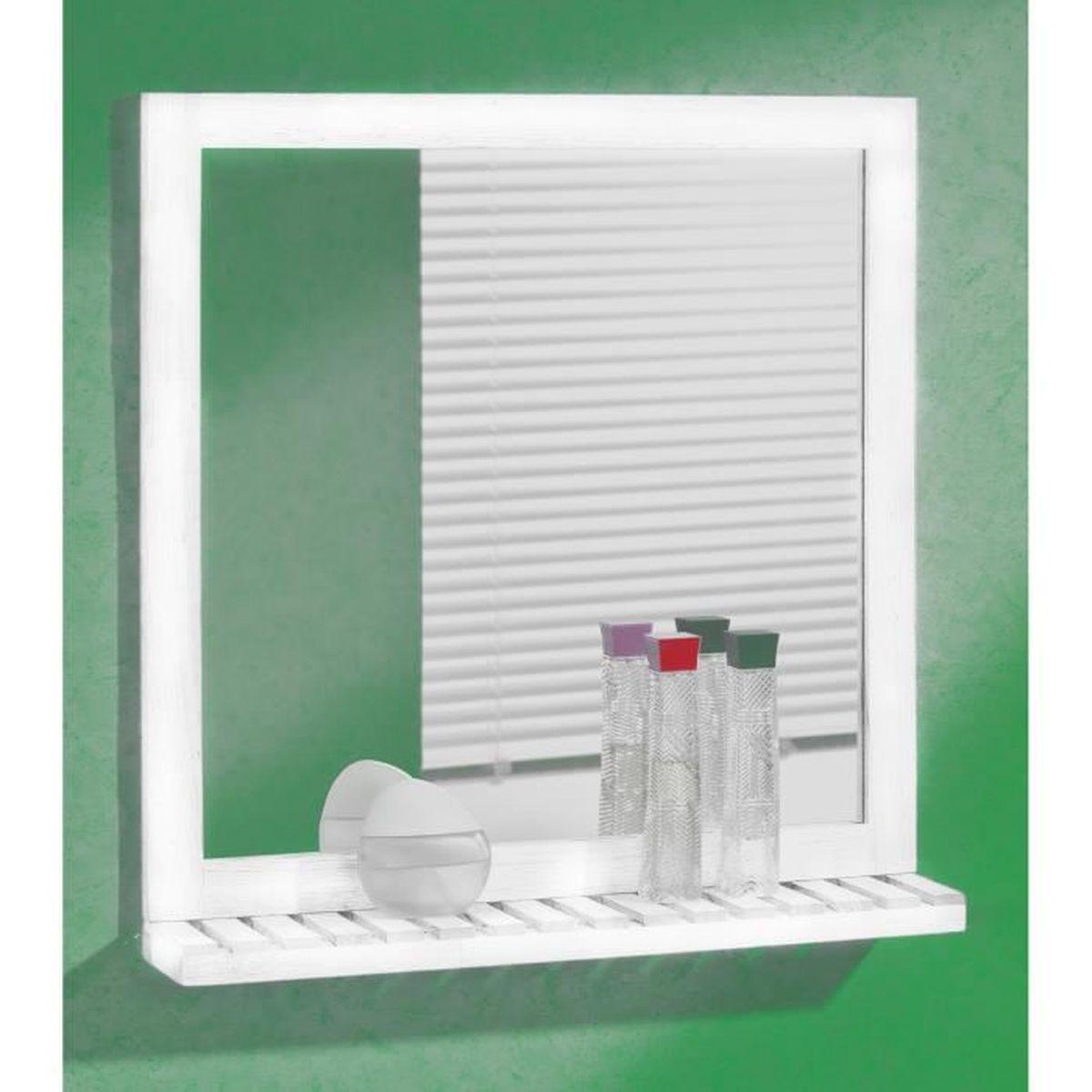 Miroir Mural 60 X 63 Cm Peint En Blanc Avec étagère Achat Vente