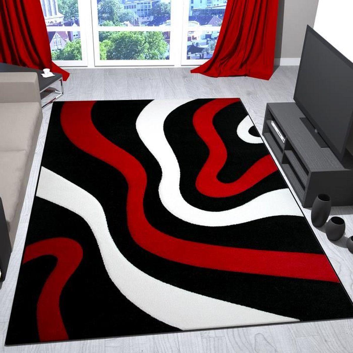 TAPIS Tapis de salon rouge, noir et blanc avec vagues de