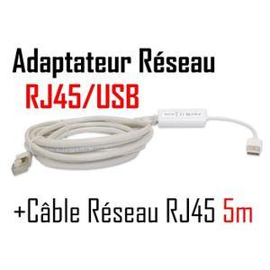 CÂBLE RÉSEAU  CABLING® Adaptateur USB (mâle) vers Ethernet RJ45