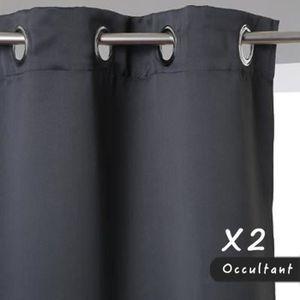 RIDEAU Rideaux Occultants x2 Gris 140 x 260 cm