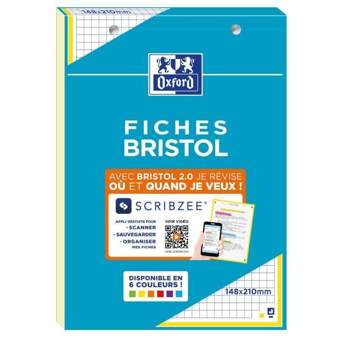 OXFORD Bloc fiche bristol 2.0 perforé - 14,8 x 21 cm - 30 fiches - 210g - 5x5 - Jaune