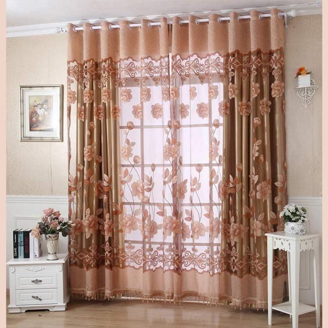 250cmx100cm print floral voile rideau de porte fen tre rideau divider charpe achat vente. Black Bedroom Furniture Sets. Home Design Ideas