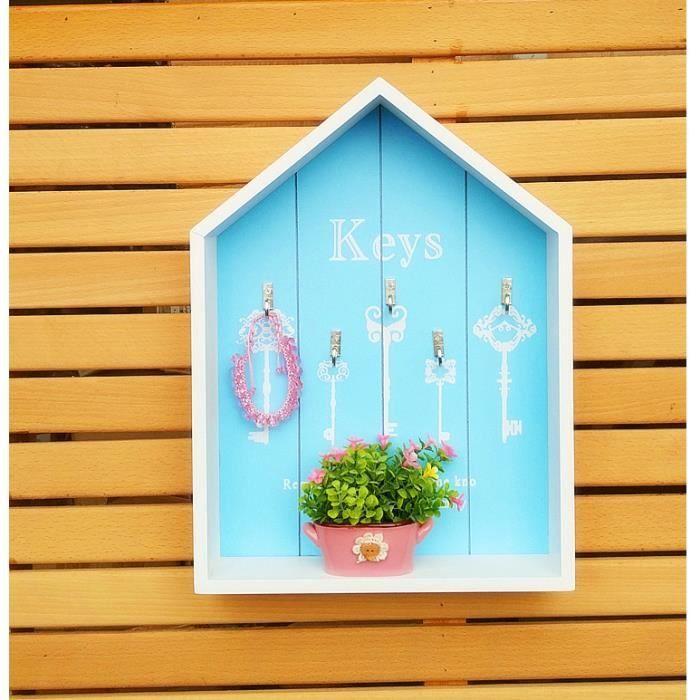 1 pcs entrée maison clé crochet créatif mur rack chambre décoration murale  décoration- bleu claire